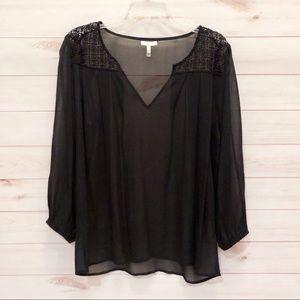 Joie Black Sheer Silk Top Size M